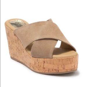 Cordani Tan Suede Jan Cork Wedge Sandals 40